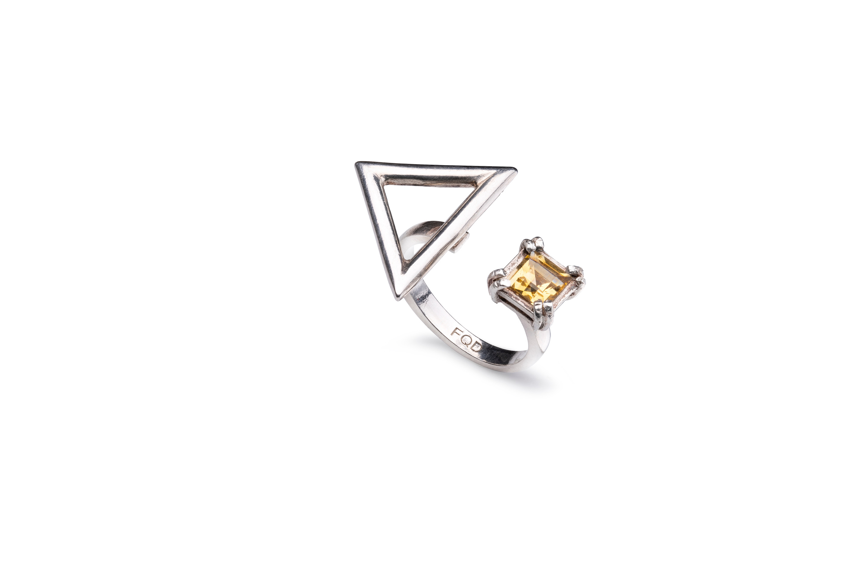 YELLOW TOPAZ TRIANGLE RING
